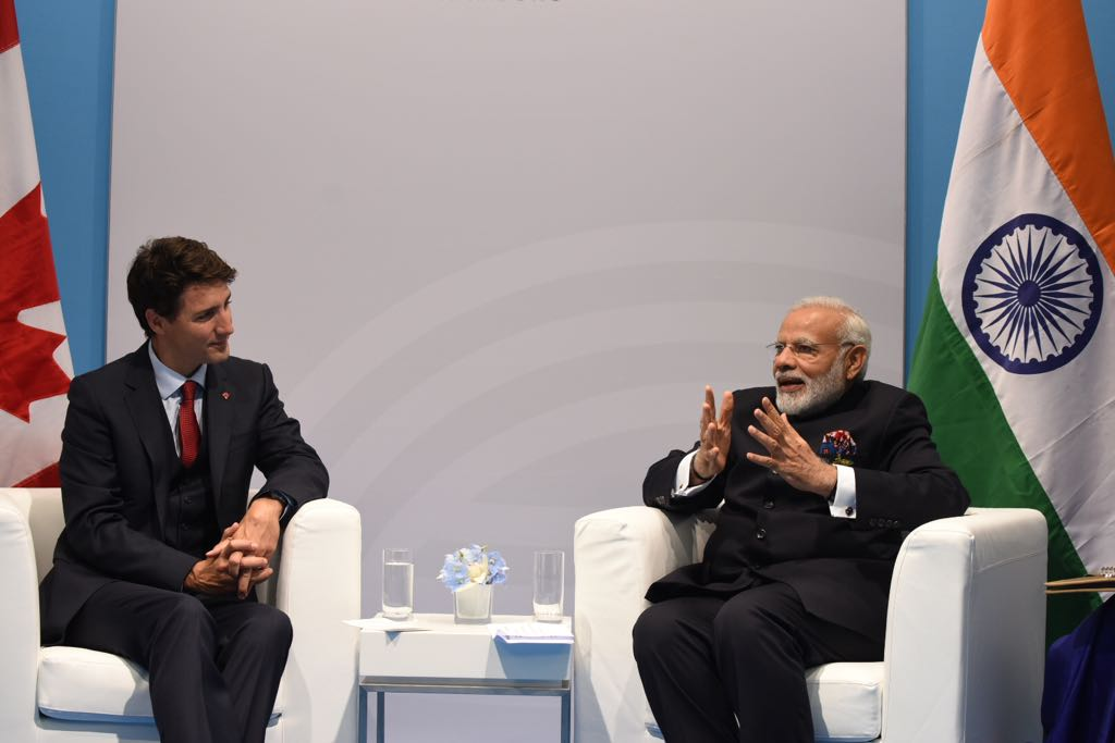 Modi (left) with Canadian PM Justin Trudeau.