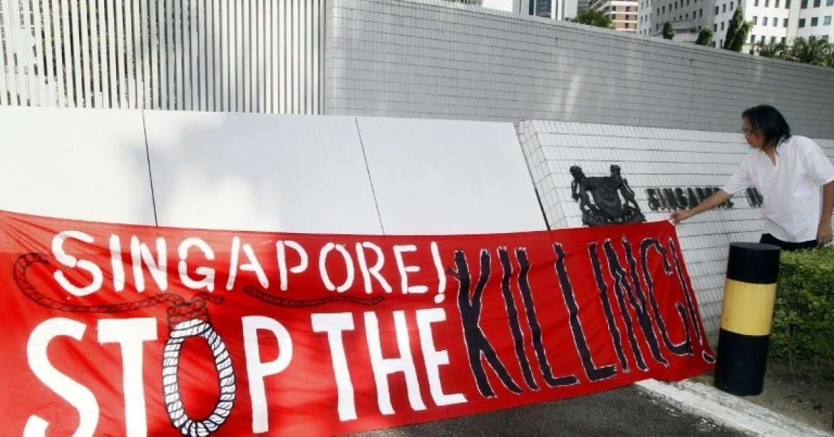 Protest against capital punishment in Singapore.