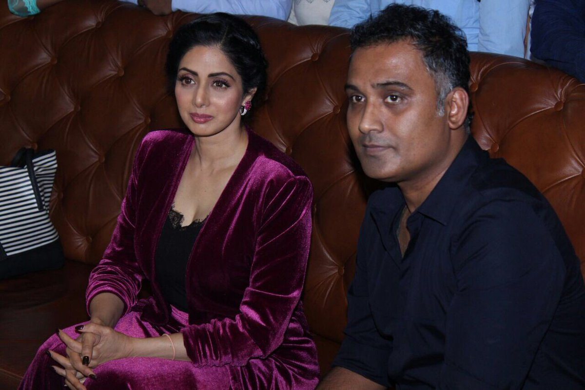 Ravi Udyawar with Sridevi during a press conference.