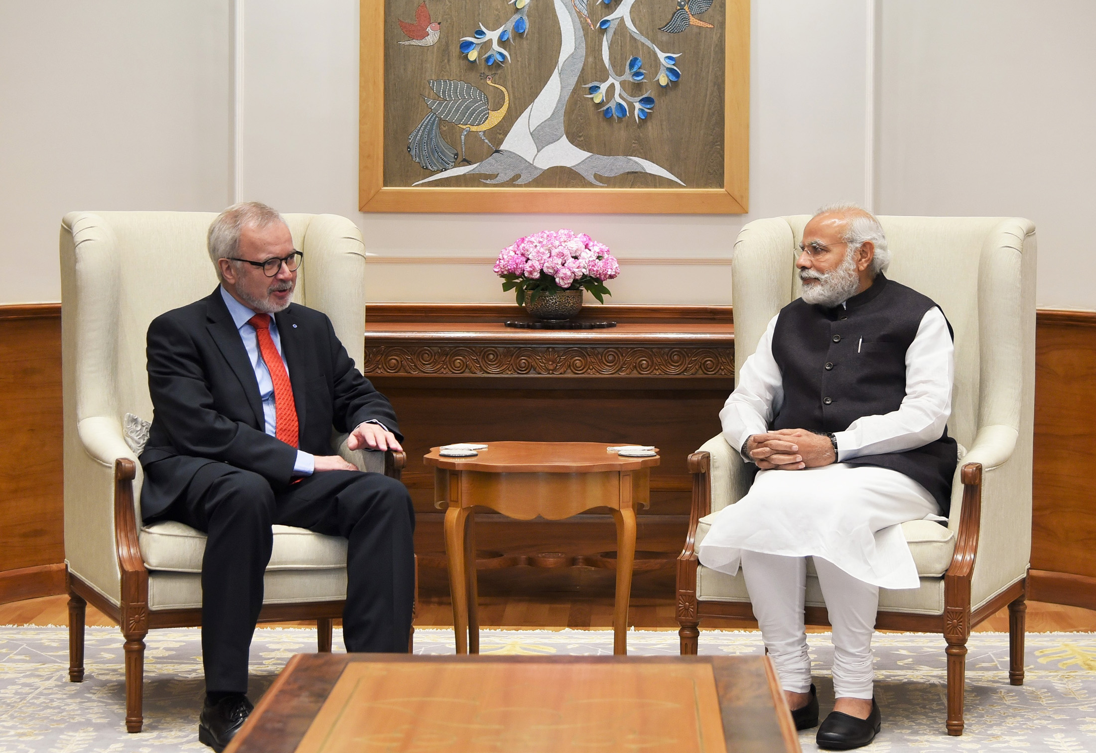 President, European Investment Bank, Dr. Werner Hoyer calling on the Prime Minister Narendra Modi, in New Delhi