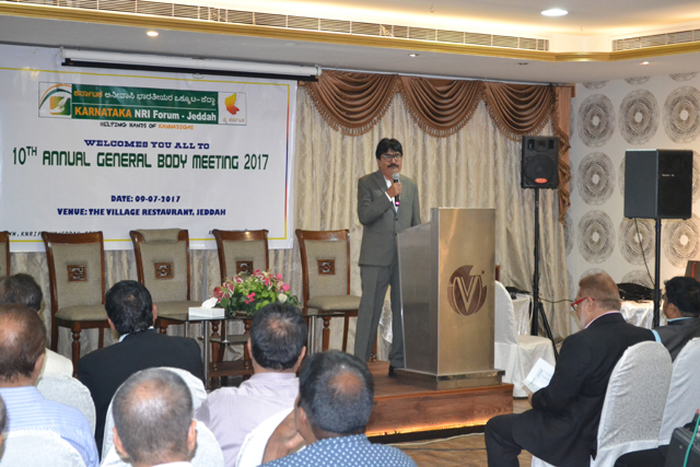 Tenth annual general meeting of Karnataka Non-Resident Indian Forum (KNRI), Jeddah being taking place at Saudi Arabia.