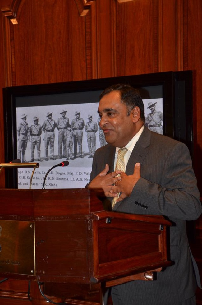 High Commissioner Y K Sinha speaking at the India House, London.