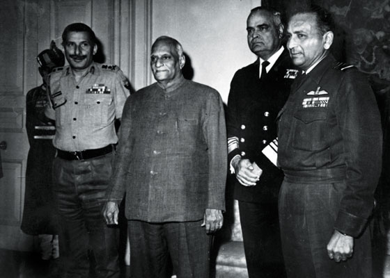 The then President, Mr V V Giri with General S H F J Manekshaw, Admiral S M Nanda and Air Chief Marshal PC Lal (Source: Sainik Samachar archives)