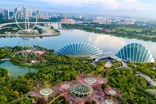 Drone shot featuring Marina Bay, complemented by the Flower Dome and Singapore Flyer in the background