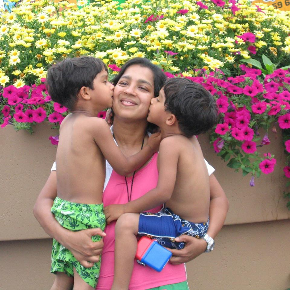 Bindu Philips with her twin sons.