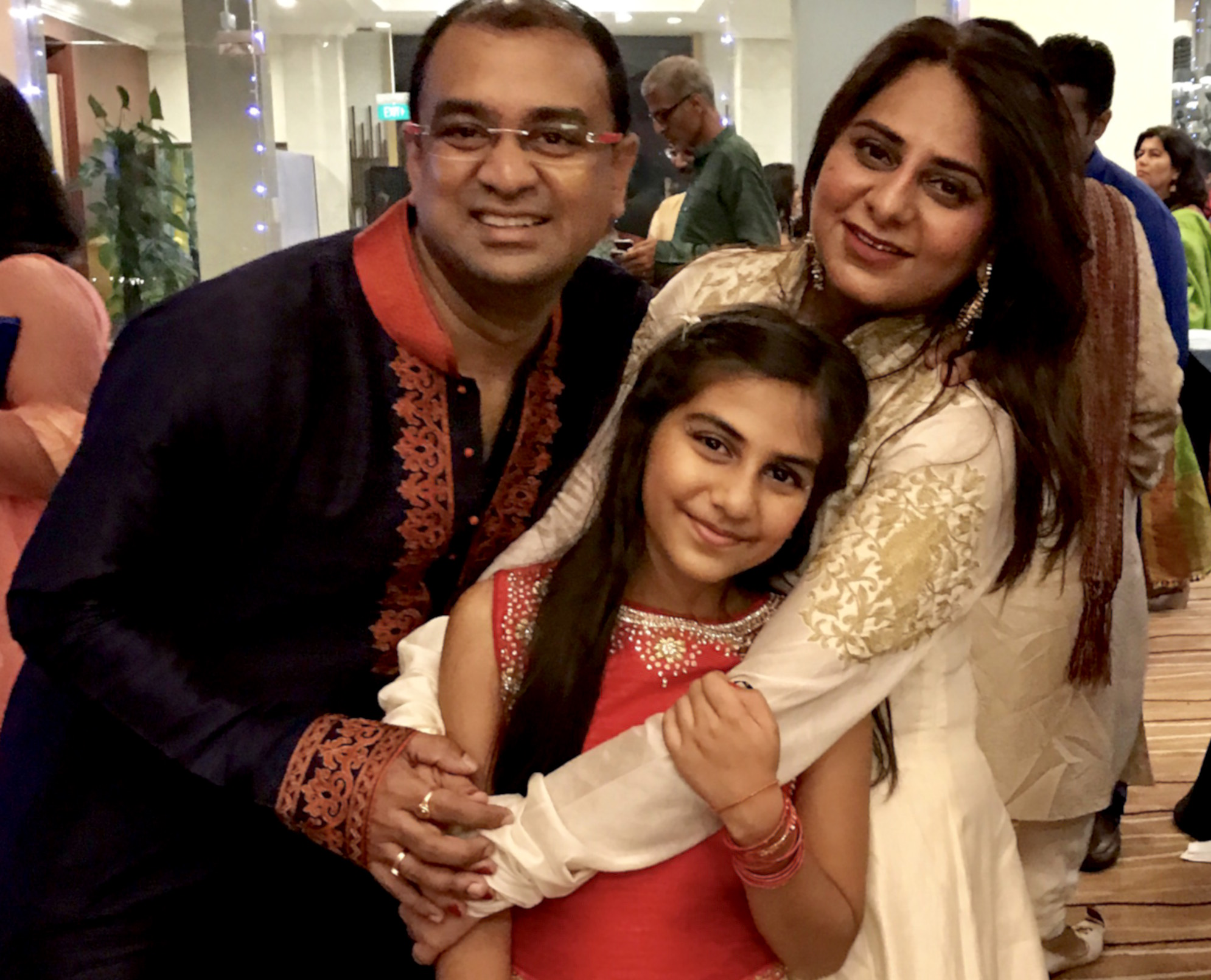 Jagannath Narendran with his wife Hasika and daughter Aarna. Photo courtesy: Jagannath Narendran