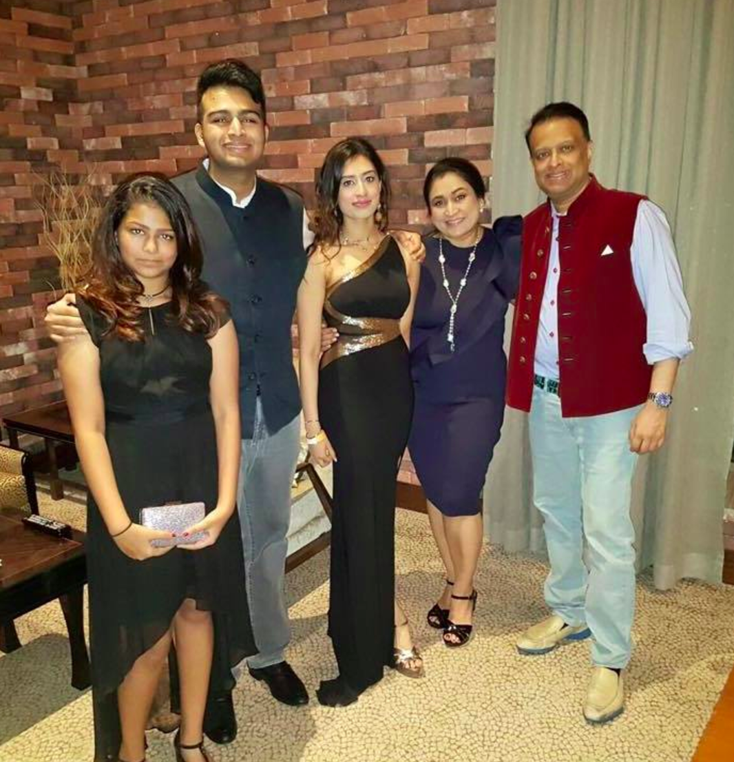 Rajul Mehta, CEO of Queenmark, with her family.