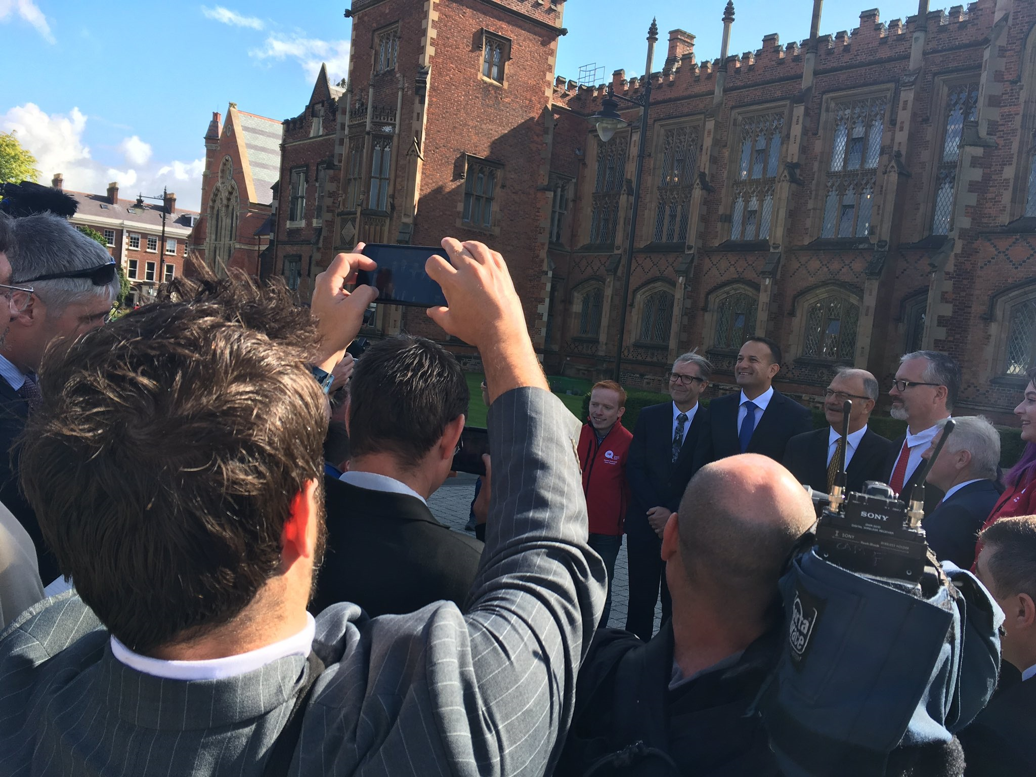 Republic of Ireland PM Leo Varadkar (2nd right) at Queen's University in Belfast.