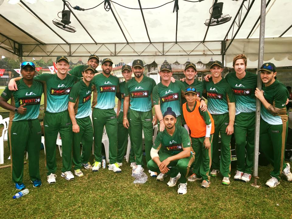 Members of the SCG XI are all smiles after emerging victorious in their first ever appearance at the SCC T20. Hosts SCC went down to them by 64 runs in a rain-affected game.