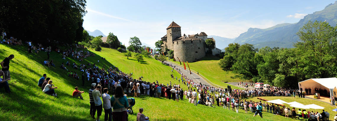 People gather to celebrate the National Day in Liechtenstein.