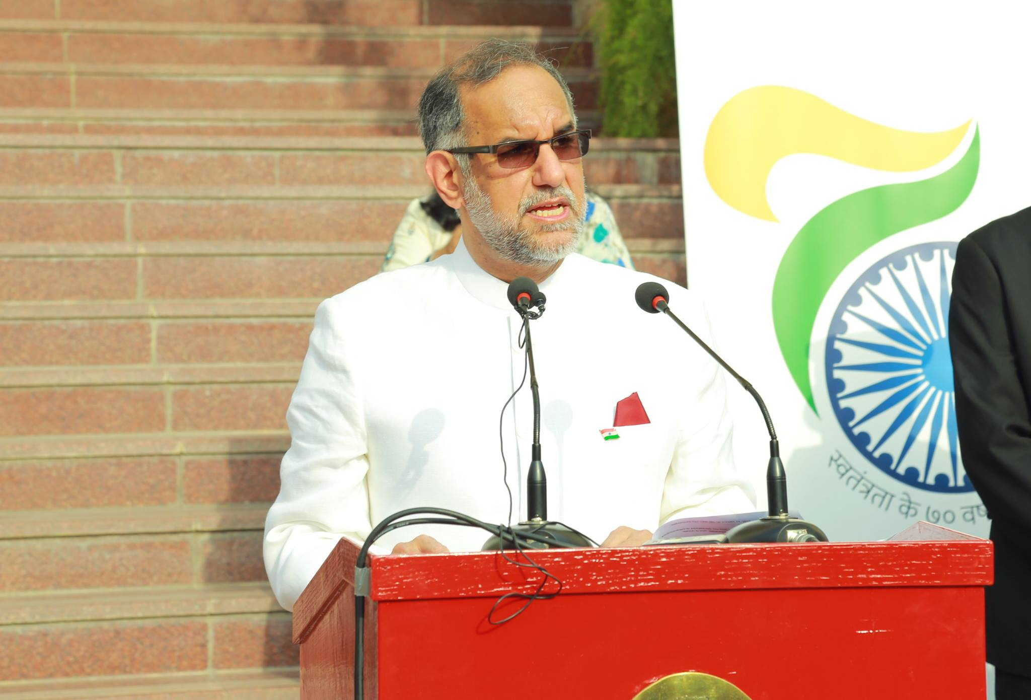 Ambassador Navdeep Suri unfurled tricolour & addressed a huge gathering of Indian community.