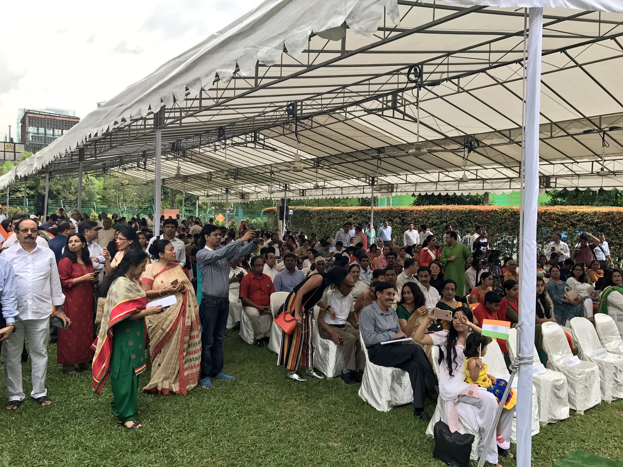 A crowd gathered at the High Commission of India, Singapore.
