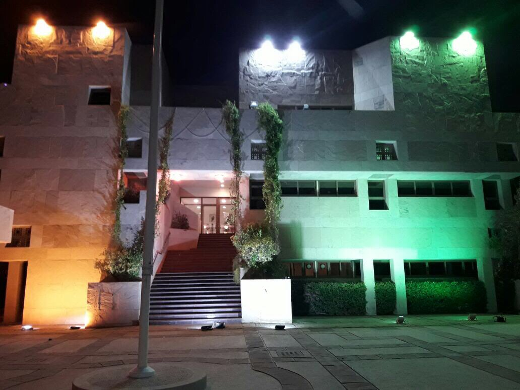 Indian embassy Abu Dhabi drenched in the colours of Indian national flag on occasion of 70th Independence Anniversary