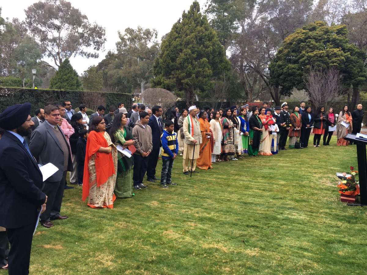 Flag hoisting ceremony at India House, Canberra