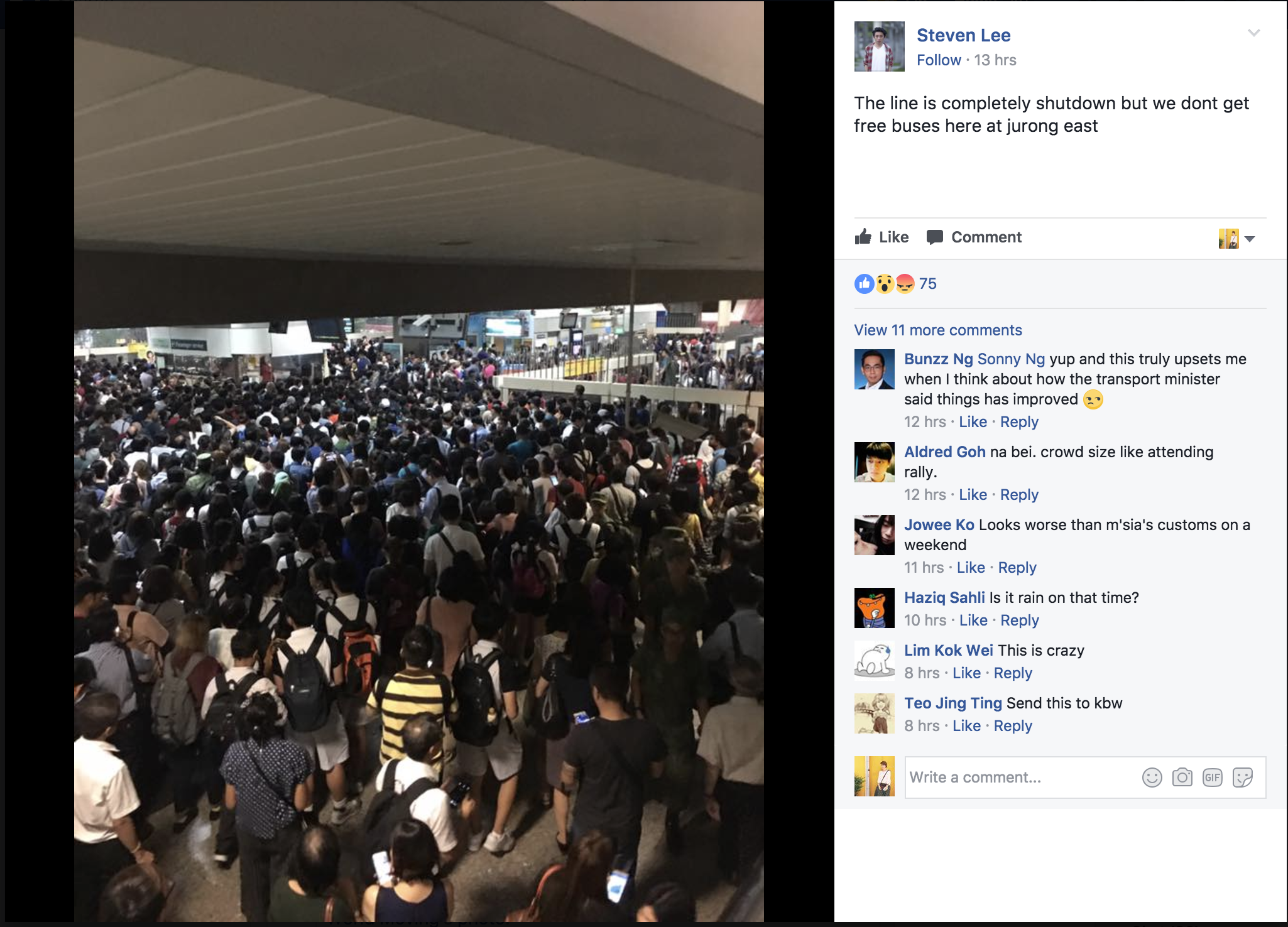 Situation at Jurong East MRT. Photo courtesy: Screenshot of FB comment