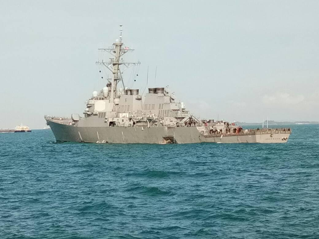 Photo released by Royal Malaysian Navy, purportedly showing the damage to American guided-missile destroyer USS John S. McCain DDG 56 when it collided with Liberian merchant vessel Alnic MC early morning on 21 August. Photo courtesy: Royal Malaysian Navy