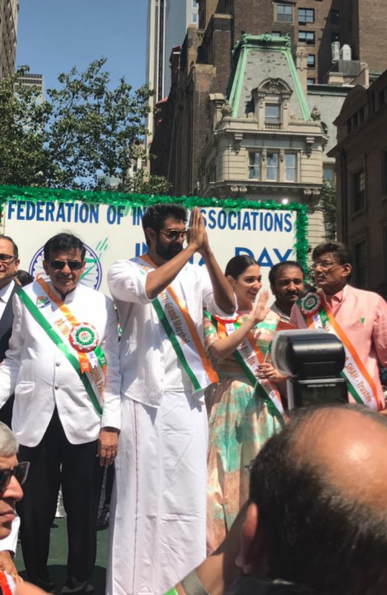 'Baahubali' actors Rana Daggubati and Tamannaah Bhatia during the 37th India Day Parade.