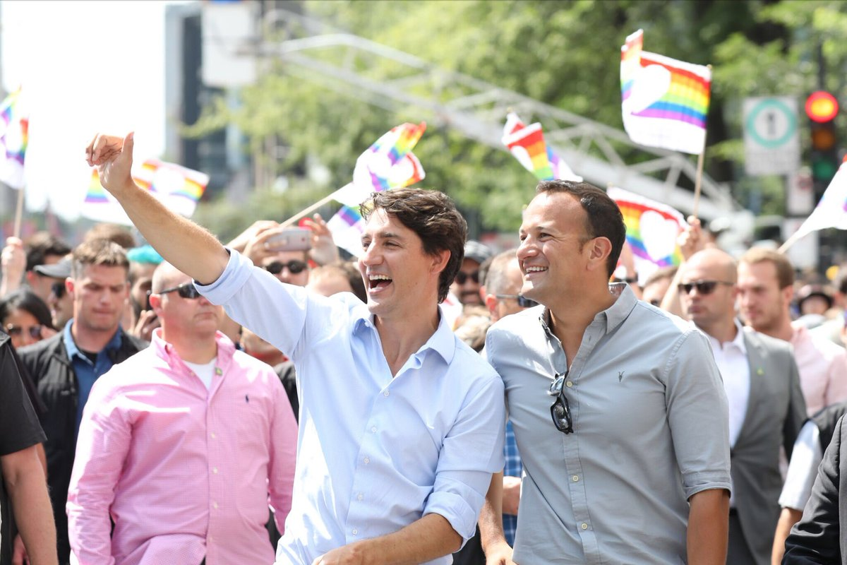 Irish PM Leo Varadkar (right) with his Canadian counterpart Justin Trudeau at the Montreal Gay Pride parade.