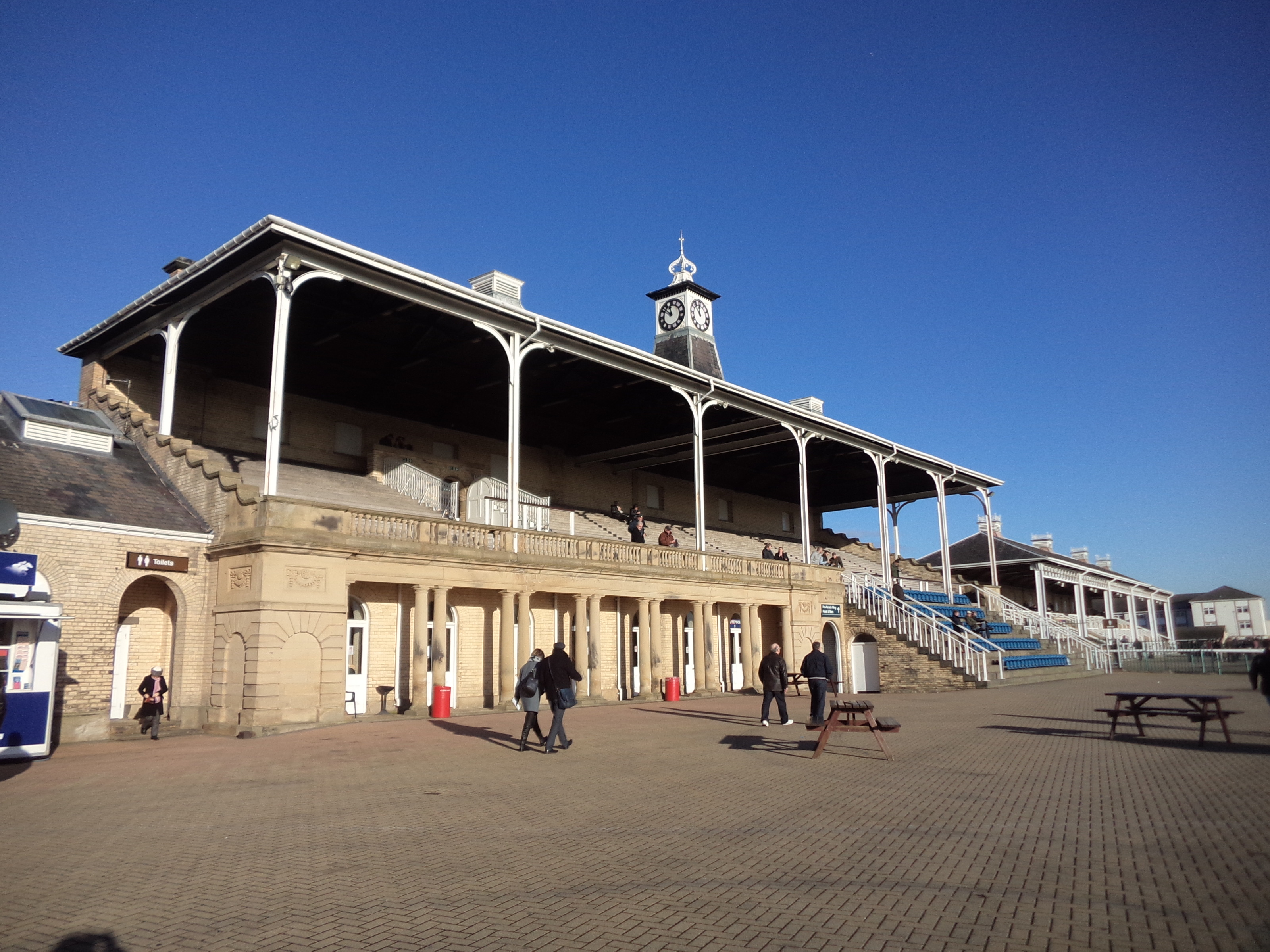 The historic clock tower at the Doncaster Racecourse.