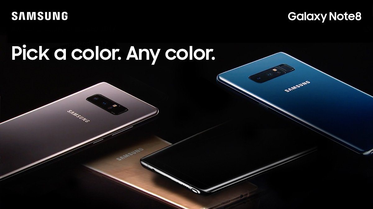 ​ The Note8 will come in three colours in Singapore - Midnight Black, Maple Gold and Orchid Gray.