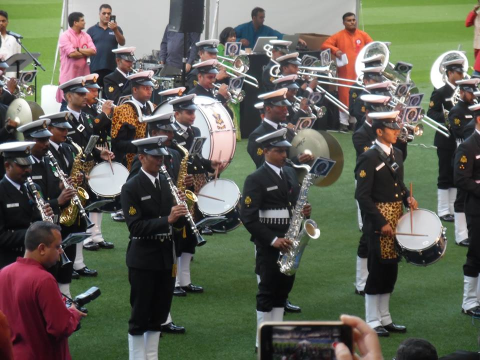An Indian marching band performing at the Murrayfield Stadium.