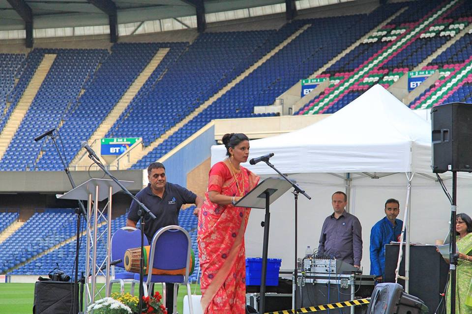 Consul-General Anju Ranjan addressing the gathering at Murrayfield Stadium.