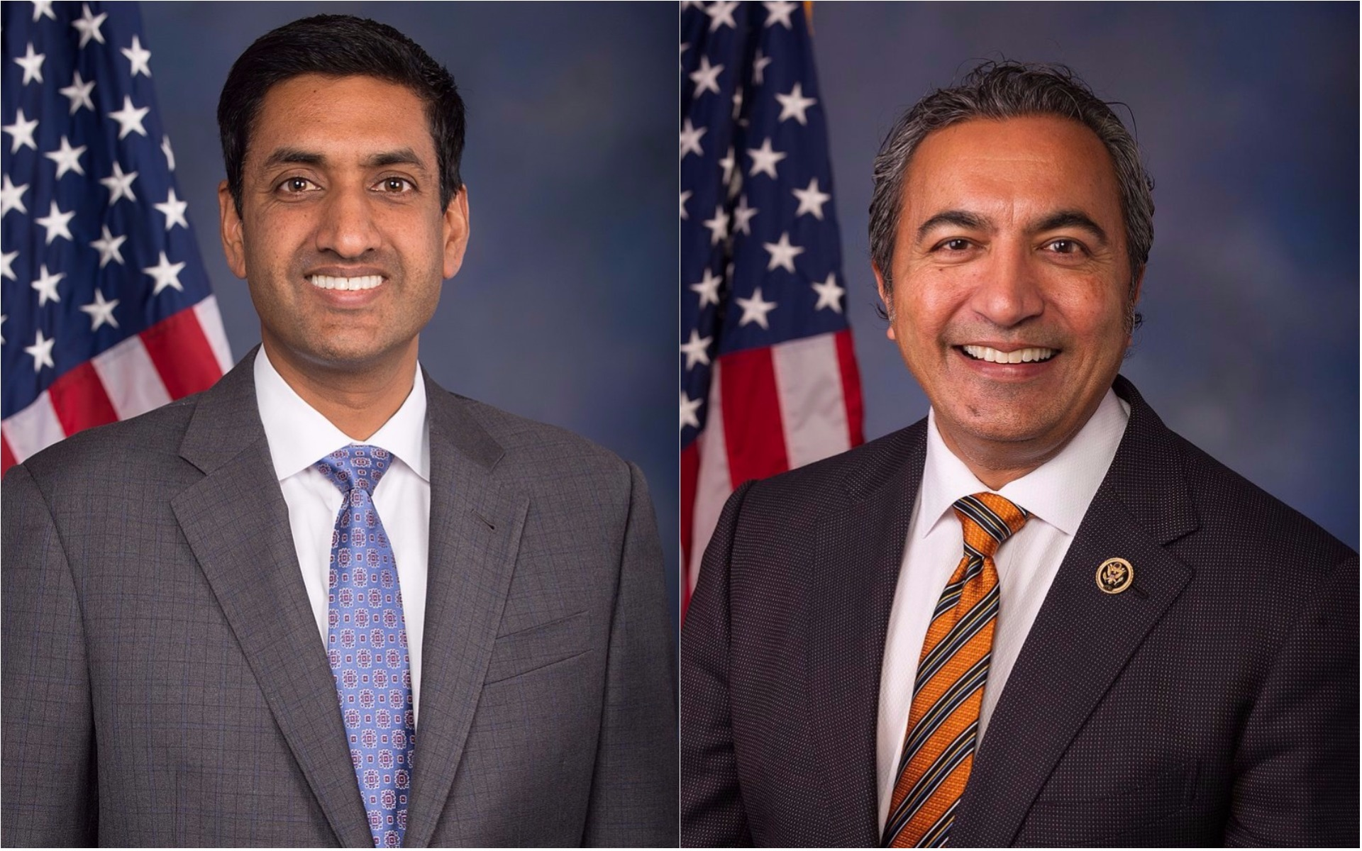 Democratic US Representative Ami Bera (left) and California Democrat Ro Khanna.