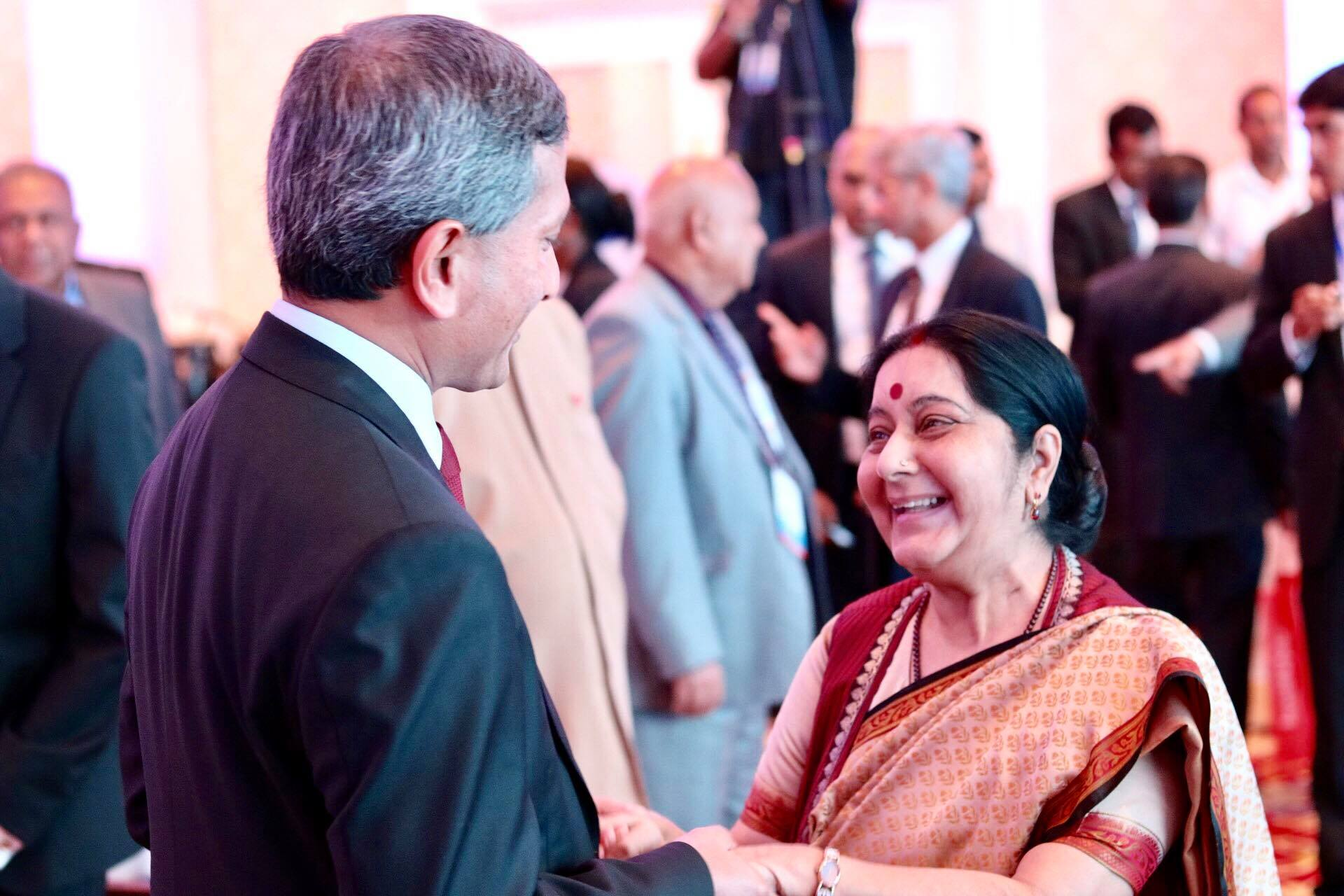 Singapore Minister for Foreign Affairs Dr Vivian Balakrishnan meets Indian Minister of External Affairs Sushma Swaraj Indian Ocean Conference in Colombo.