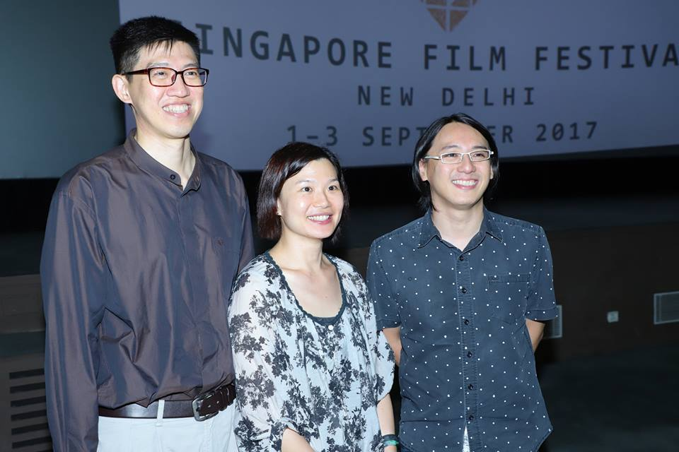 Director of THat Girl in a Pinafore Yee Wei Chai (right) at the film festival.