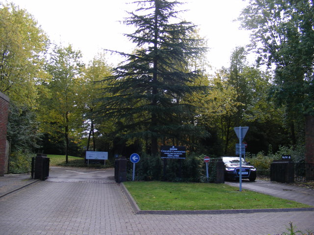 The entrance to Crownhill Crematorium.