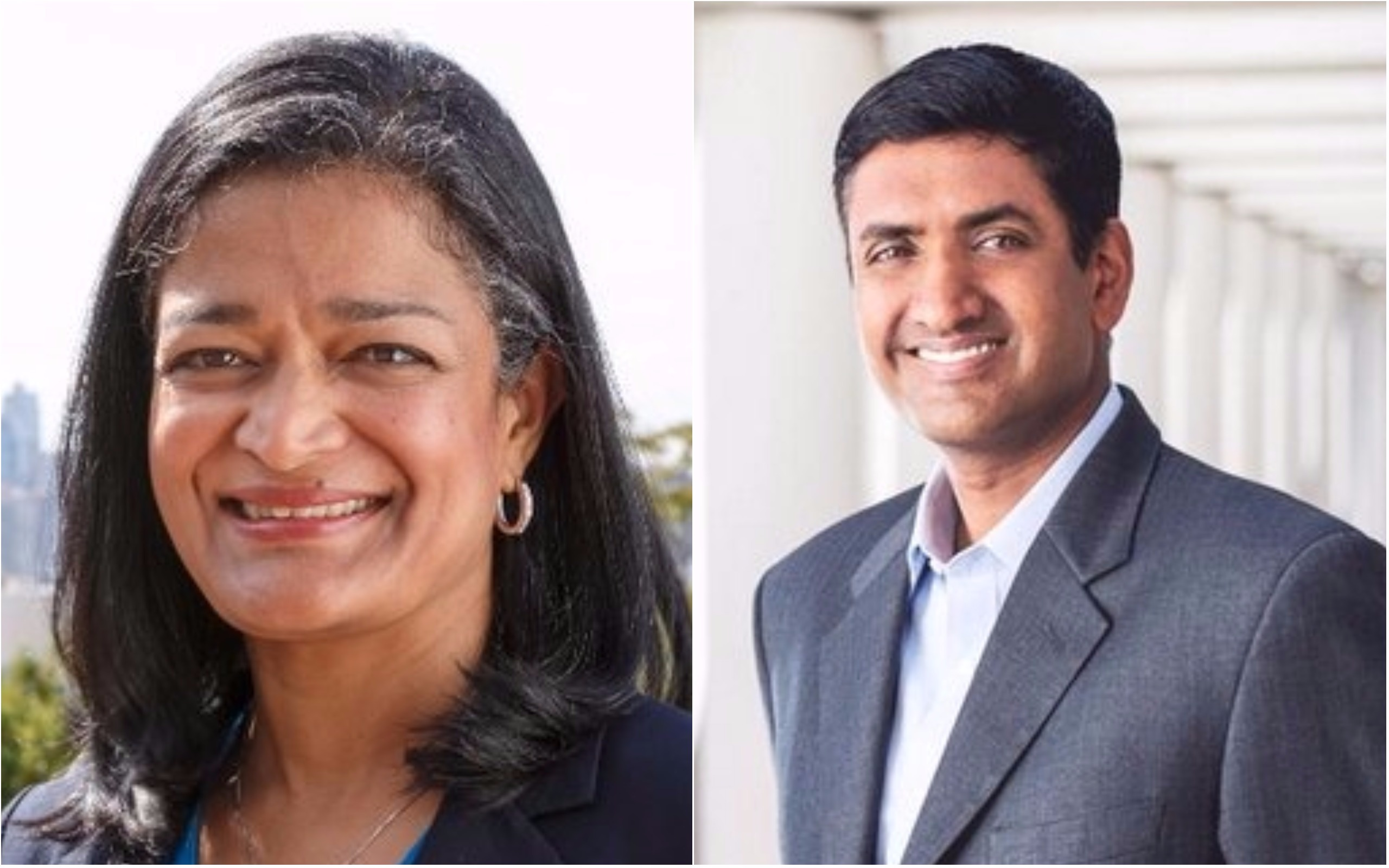 Congress leader Pramila Jayapal (left) and Representative Ro Khanna.