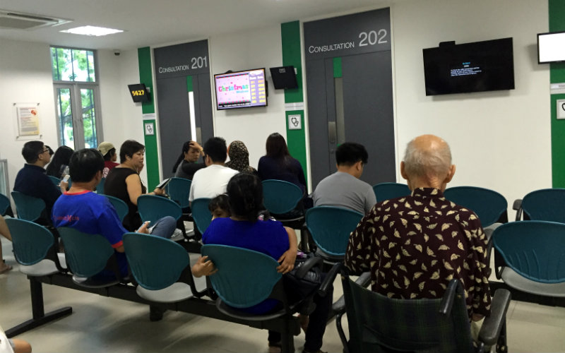 Patients at a polyclinic in Singapore.