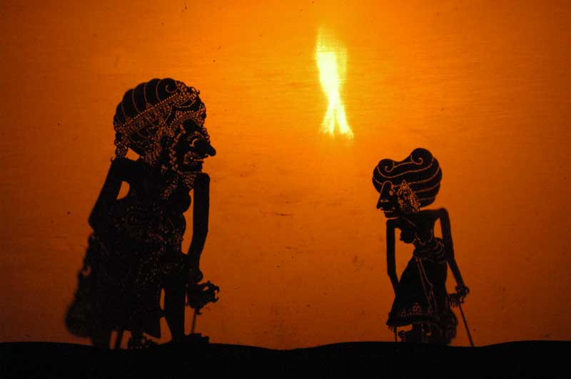A Wayang show in Bali Indonesia, presenting a play from the Ramayana.