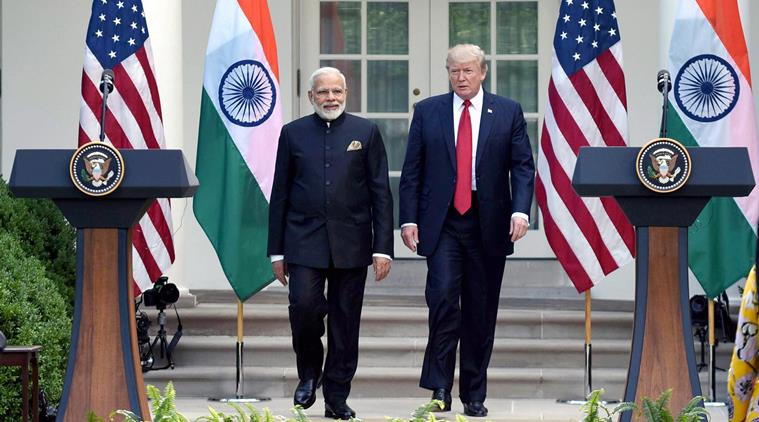 Indian Prime Minister Narendra Modi (left) with US President Donald Trump.