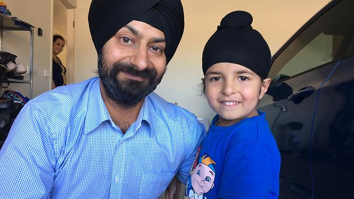 Sidhak Singh Arora with his father.