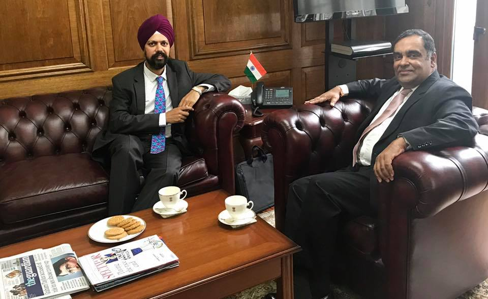 UK MP Tan Dhesi (left) with Indian High Commissioner to the UK YK Sinha.