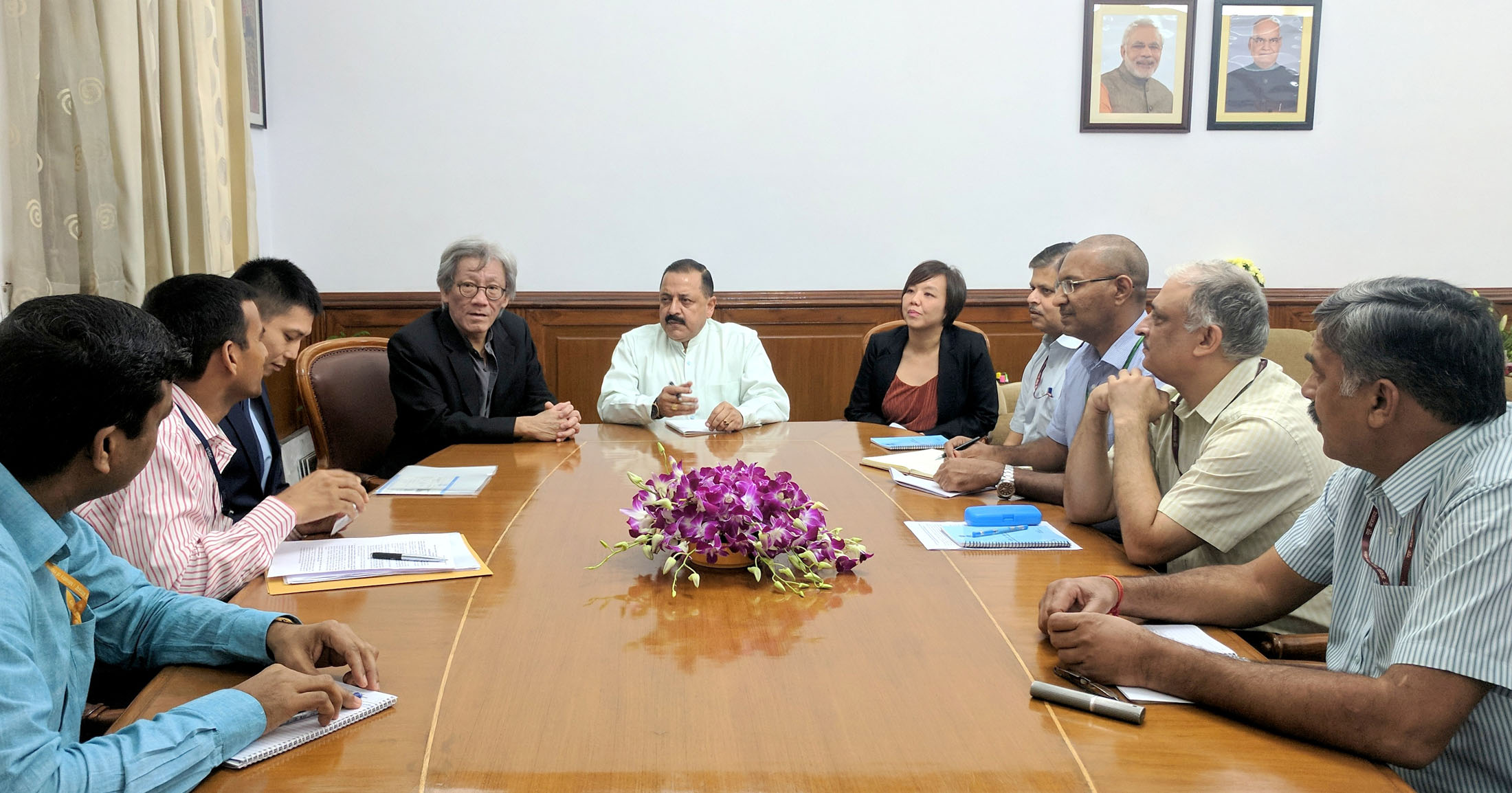 A high-level delegation from Singapore, led by its High Commissioner, Mr Lim Thuan Kuan holding a meeting with the Minister of State for Development of Northeastern Region (I/C), Prime Minister's Office, Personnel, Public Grievances & Pensions, Atomic Energy and Space, Dr Jitendra Singh, in New Delhi.