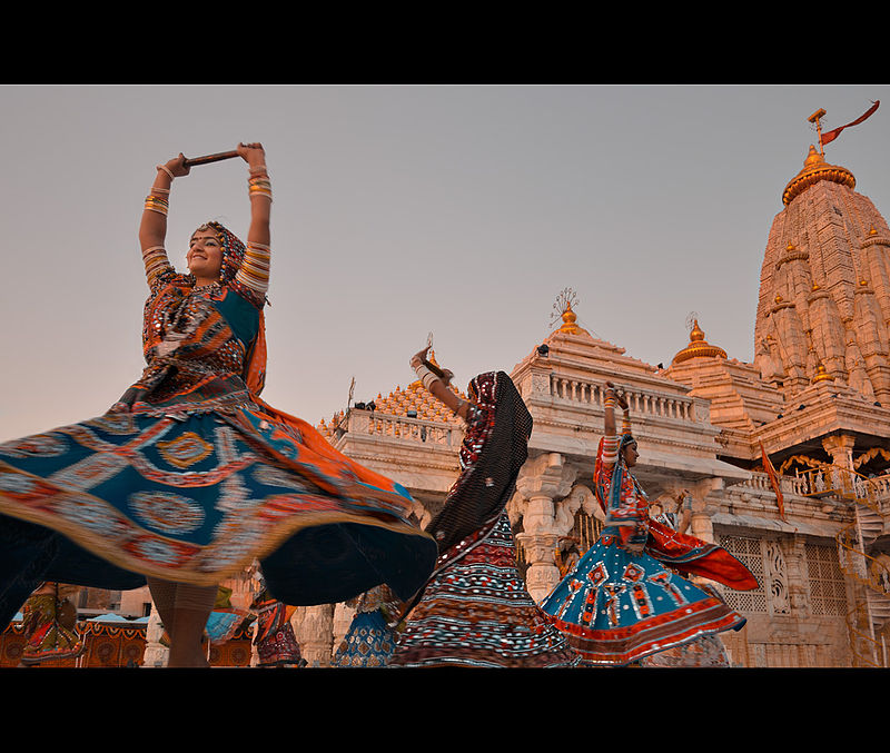 Garba dance performances at Ambaji Temple of Gujarat, India.