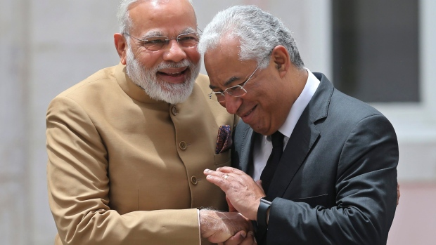 Portuguese Prime Minister Antonio Luis Da Costa (right) with his Indian counterpart Narendra Modi.