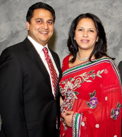 Amit Bhandari (left) with wife Arpita Brahmbhatt Bhandari.