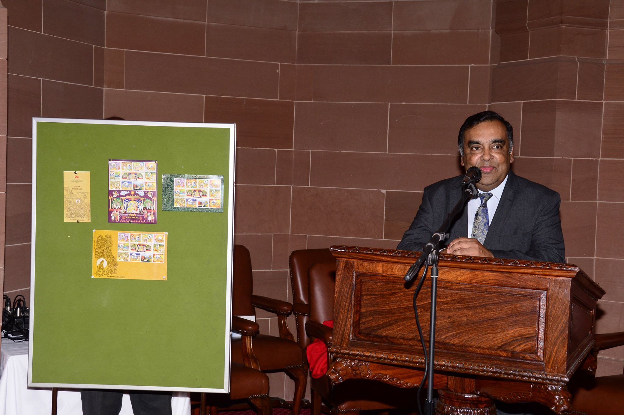 HCI to the UK Y K Sinha introducing the new stamps.