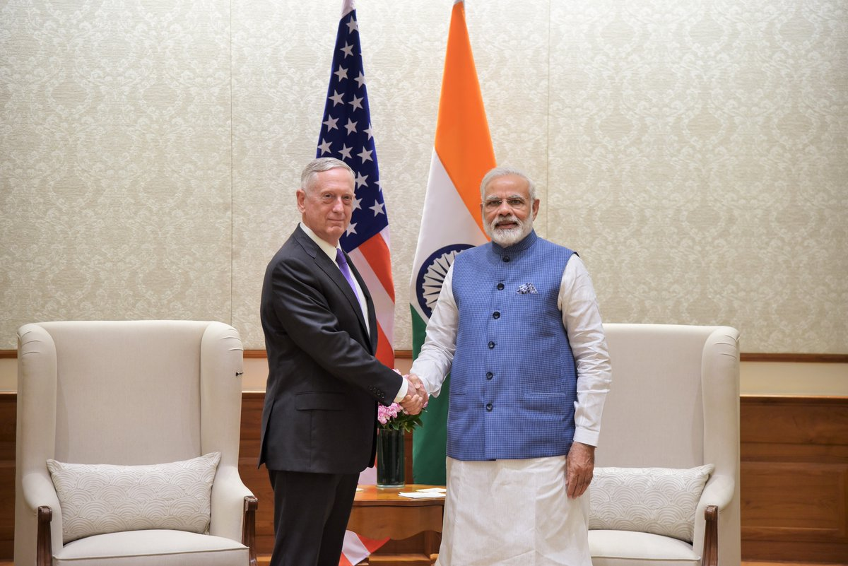 US Defense Secretary James Mattis (left) with Indian Prime Minister Narendra Modi.