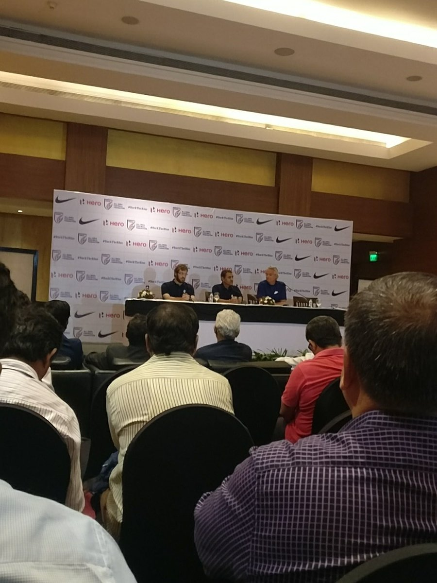 AIFF president Praful Patel (centre) at a press conference announcing the launch of the U17 World Cup.