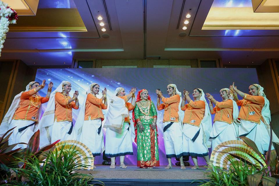 Malayalee ladies giving performance of oppana. It is popular in the Mappila (Kerala Muslim) community of Kerala. Women dancers sing and clap their hands rhythmically, and dance around a bride in simple steps. Photo courtesy: Facebook