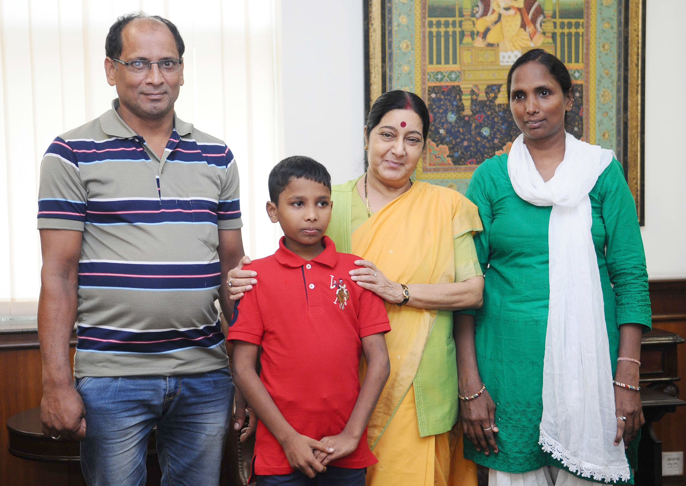 Union Minister for External Affairs Sushma Swaraj welcoming the young boy Sonu returned from Bangladesh, in New Delhi on June 30, 2016 Photo courtesy: Press Information Bureau/MEA