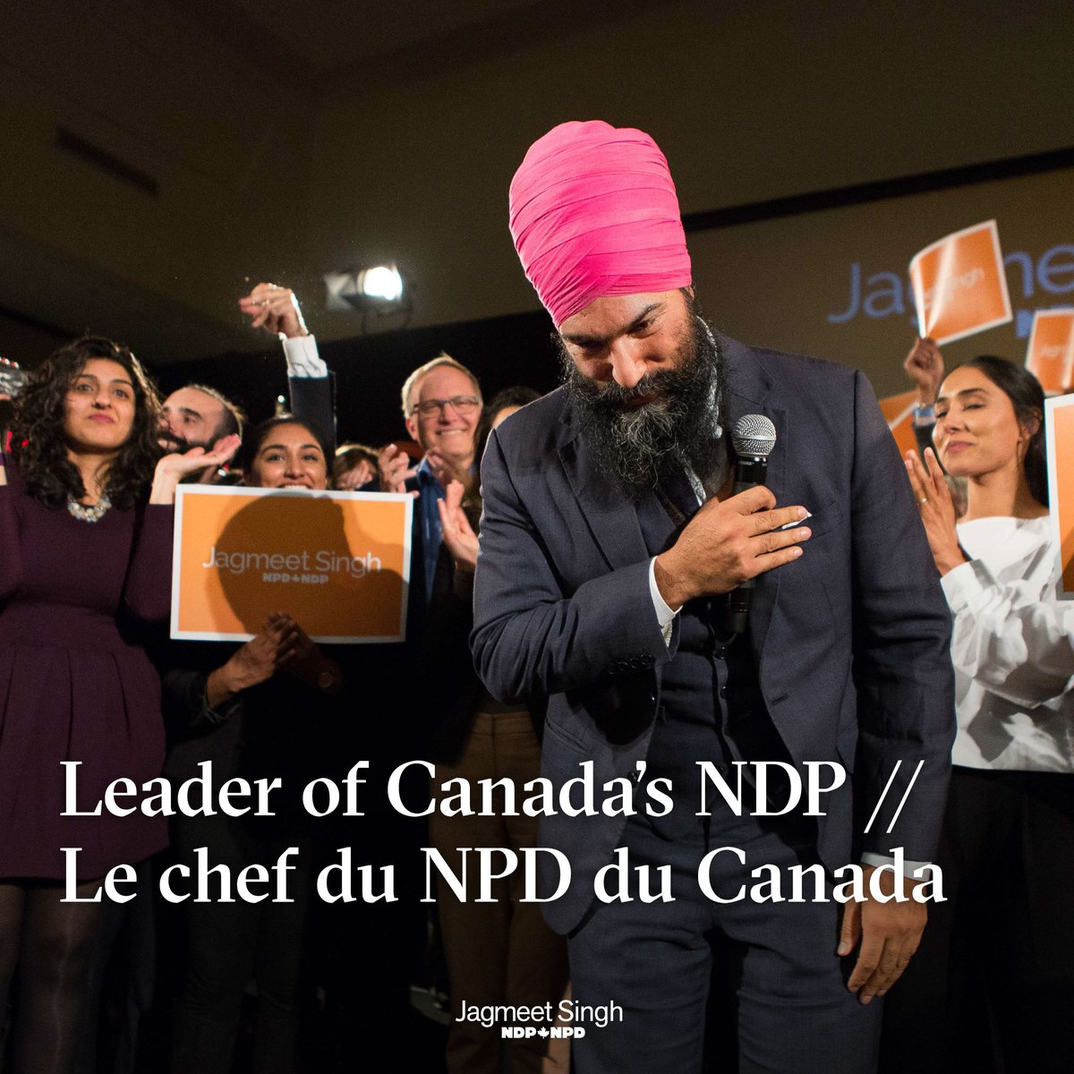 Jagmeet Singh celebrating after his victory. Photo courtesy: Twitter/@theJagmeetSingh