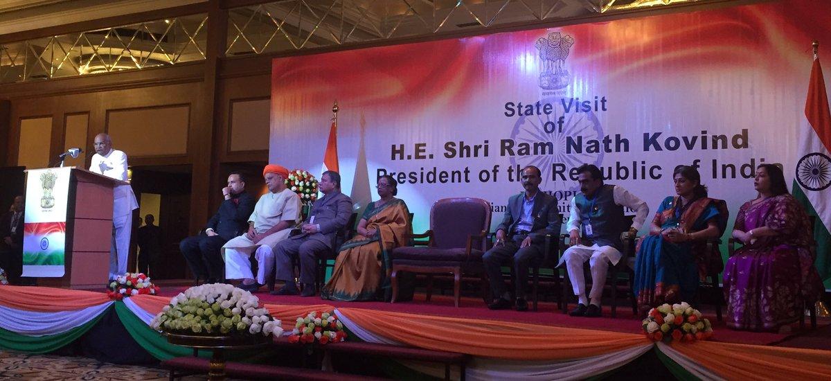 Indian President Ram Nath Kovind addressing a gathering of the diaspora in Djibouti.