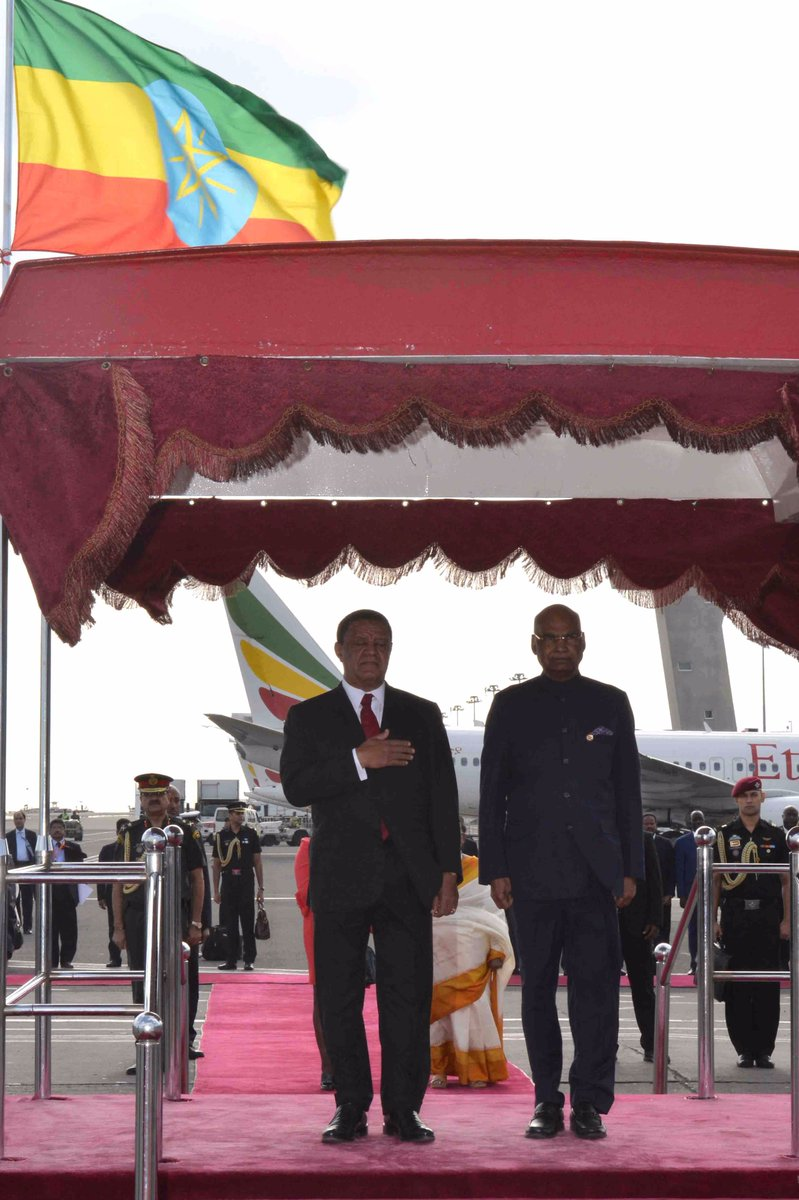 Indian President Ram Nath Kovind arrives in Addis Abbaba, the capital of Ethiopia.
