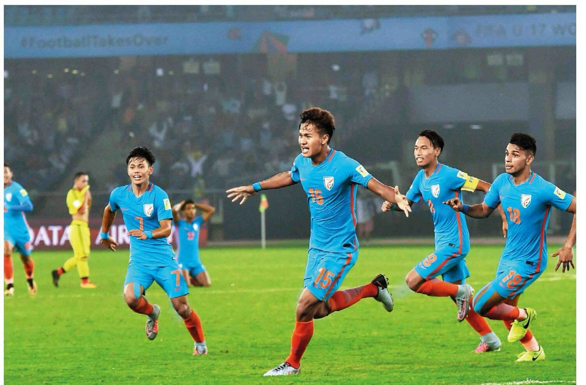 Jeakson Singh celebrates after scoring for India against Colombia in the U 17 World Cup.