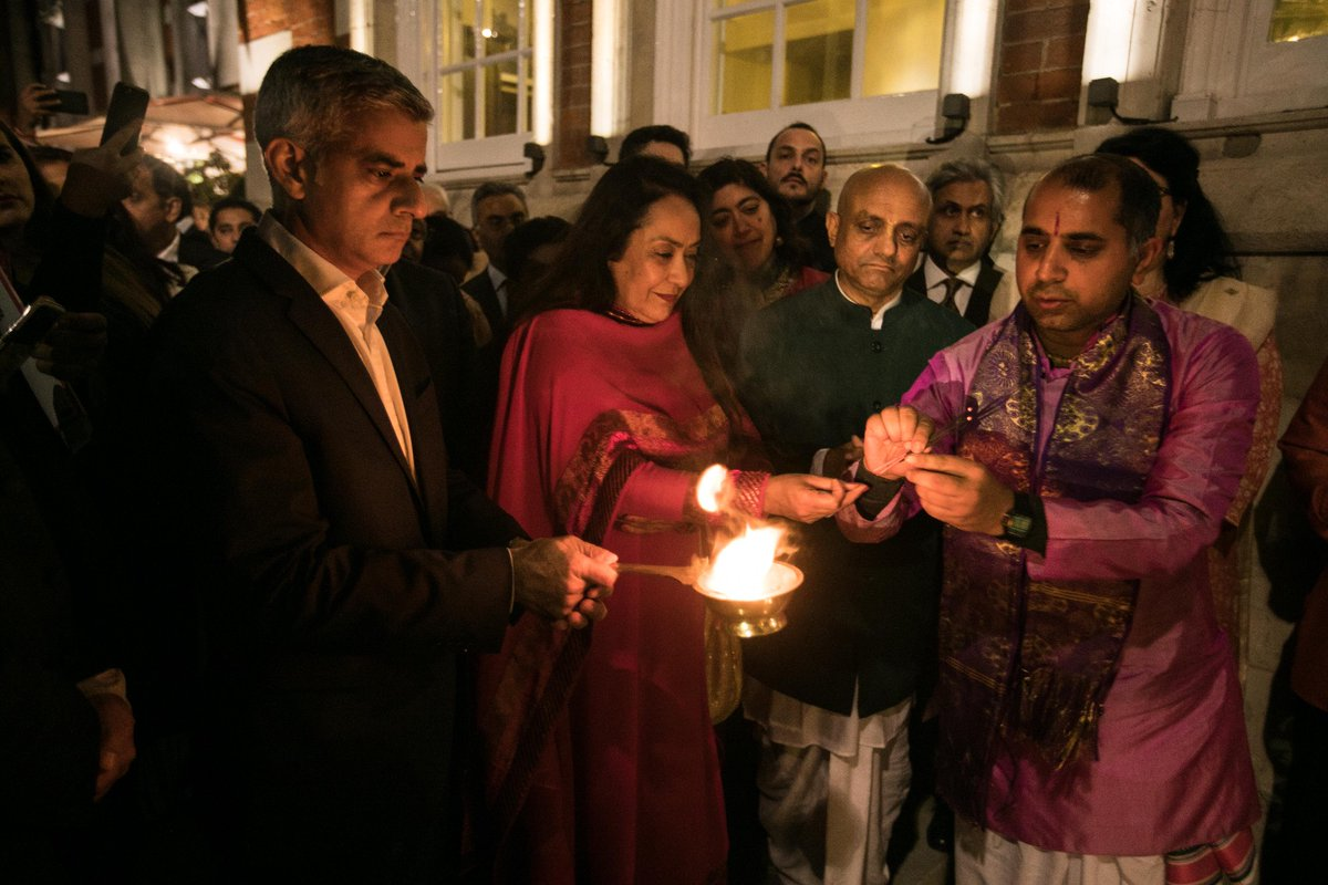 London Mayor Sadiq Khan (left) at a Diwali celebration at the Lalit, London.